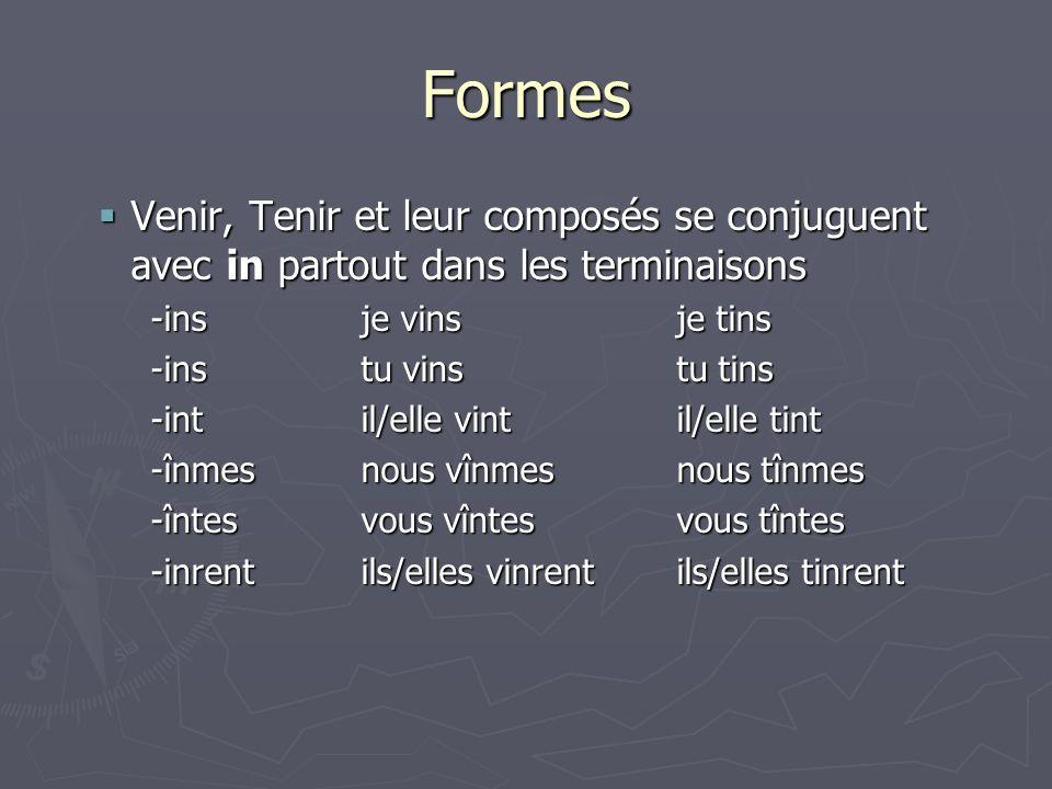 Formes Venir, Tenir et leur composés se conjuguent avec in partout dans les terminaisons Venir, Tenir et leur composés se conjuguent avec in partout d