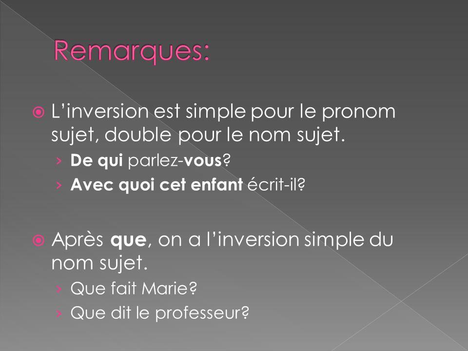 Linversion est simple pour le pronom sujet, double pour le nom sujet. De qui parlez- vous ? Avec quoi cet enfant écrit-il? Après que, on a linversion