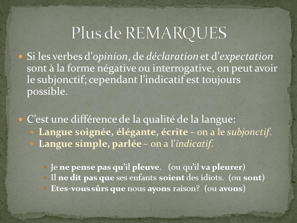 Si les verbes dopinion, de déclaration et dexpectation sont à la forme négative ou interrogative, on peut avoir le subjonctif; cependant lindicatif es