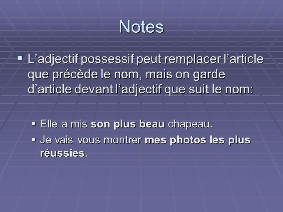 Notes Ladjectif possessif peut remplacer larticle que précède le nom, mais on garde darticle devant ladjectif que suit le nom: Ladjectif possessif peu