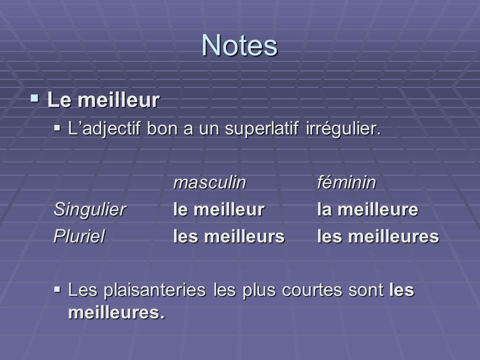 Notes Le meilleur Le meilleur Ladjectif bon a un superlatif irrégulier. Ladjectif bon a un superlatif irrégulier. masculinféminin Singulierle meilleur