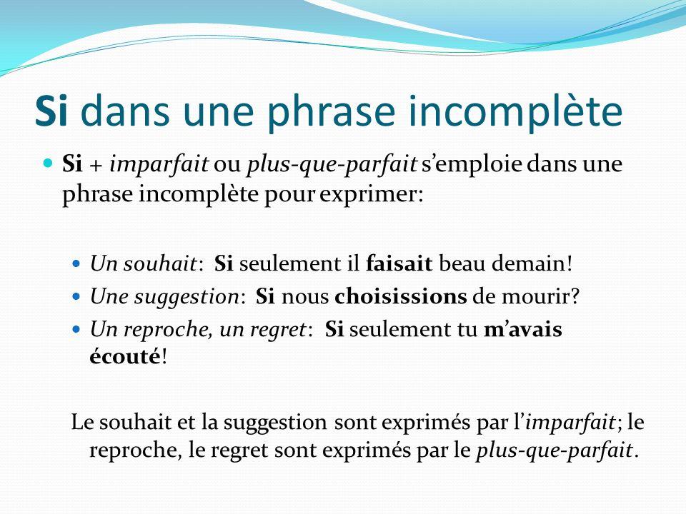 Si dans une phrase incomplète Si + imparfait ou plus-que-parfait semploie dans une phrase incomplète pour exprimer: Un souhait: Si seulement il faisai