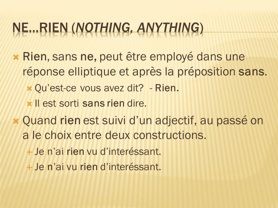 Rien, sans ne, peut être employé dans une réponse elliptique et après la préposition sans.