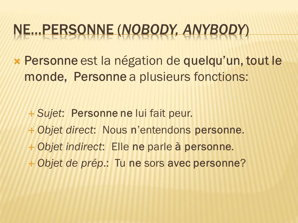 Personne est la négation de quelquun, tout le monde, Personne a plusieurs fonctions: Sujet: Personne ne lui fait peur.