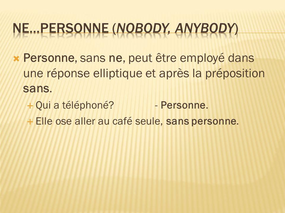 Personne, sans ne, peut être employé dans une réponse elliptique et après la préposition sans.