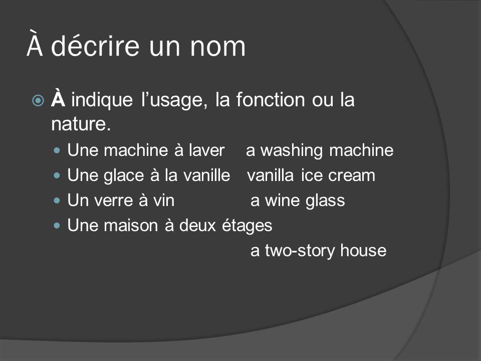 Conduire / aller en voiture En français, on a deux verbes pour décrire le moyen de locomotion, si le verbe est suivi dune destination (to + a place) ou dun adverbe (slowly, fast, ou un adverbe de lieu).