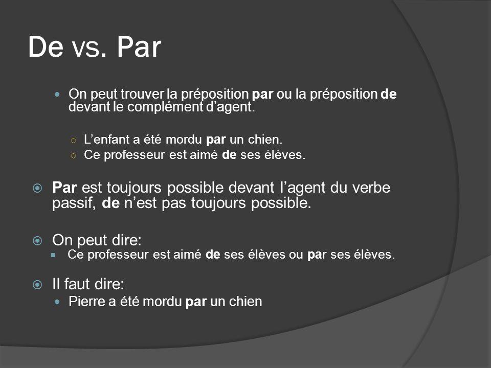 De vs. Par On peut trouver la préposition par ou la préposition de devant le complément dagent.