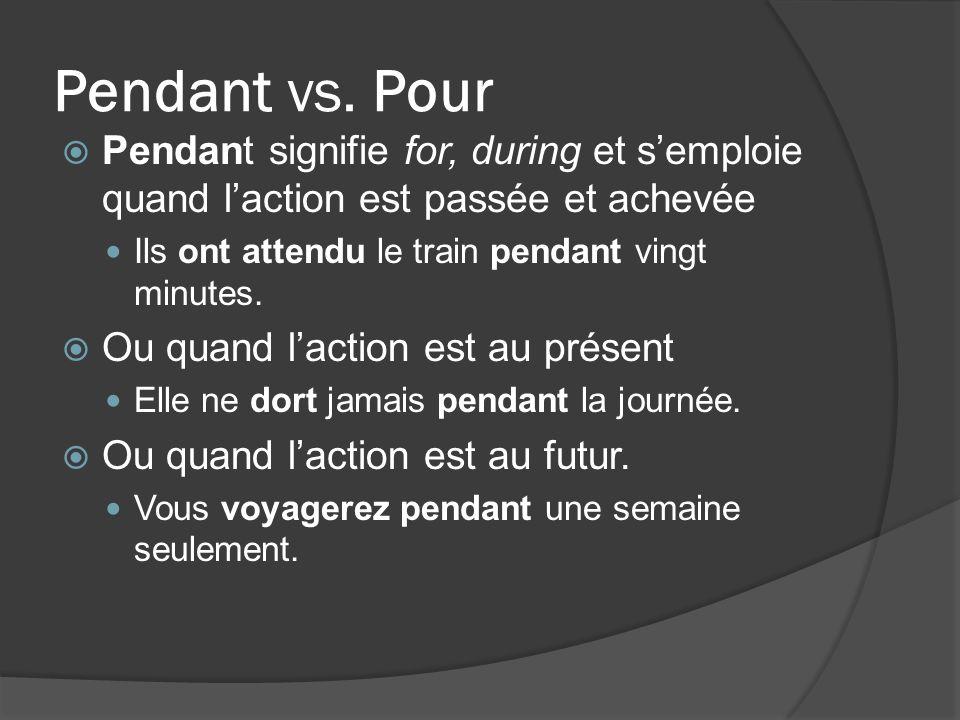 Pendant vs.Pour REMARQUE: On peut omettre pendant devant lexpression de durée.