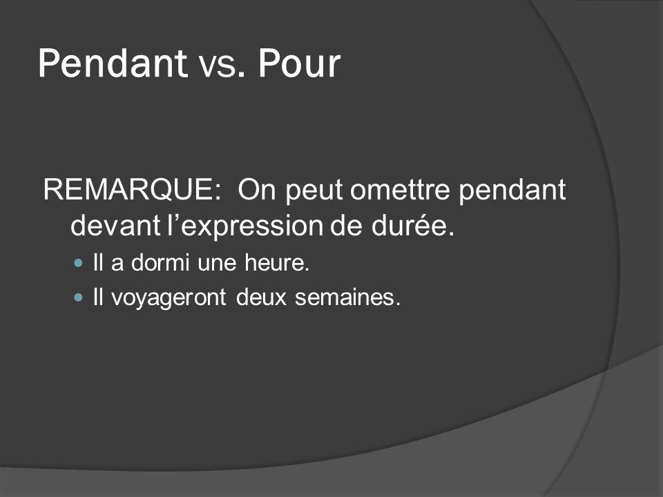 Pendant vs. Pour REMARQUE: On peut omettre pendant devant lexpression de durée.