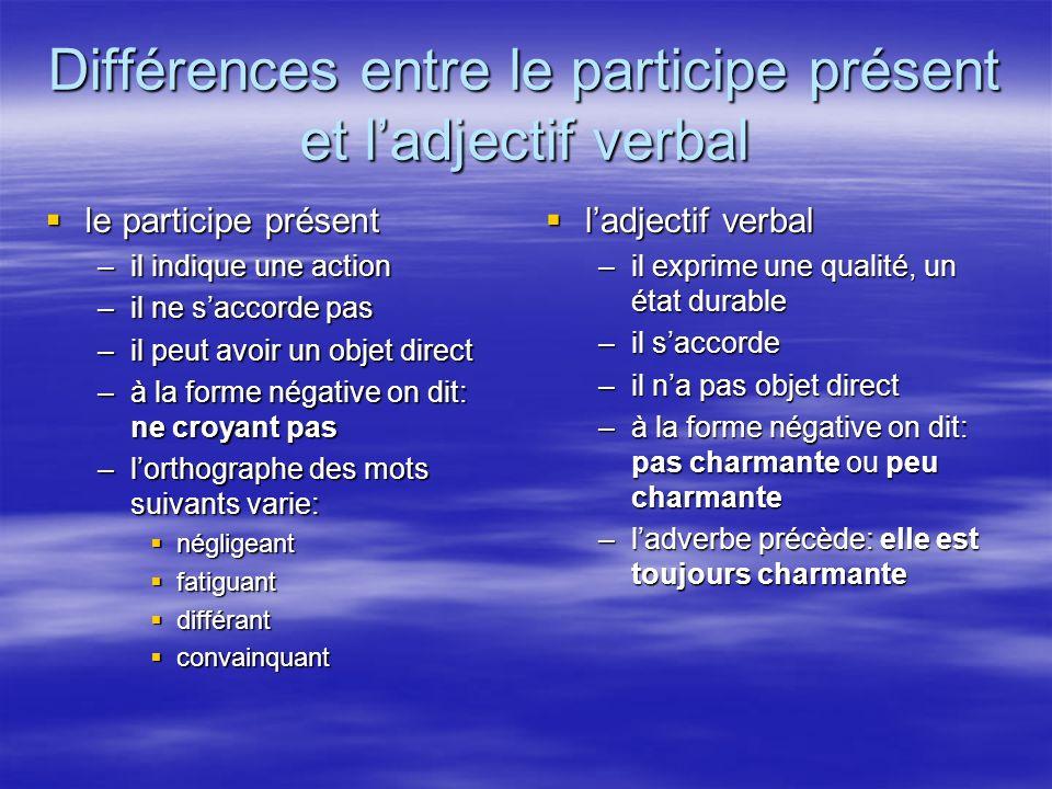 Différences entre le participe présent et ladjectif verbal le participe présent le participe présent –il indique une action –il ne saccorde pas –il pe