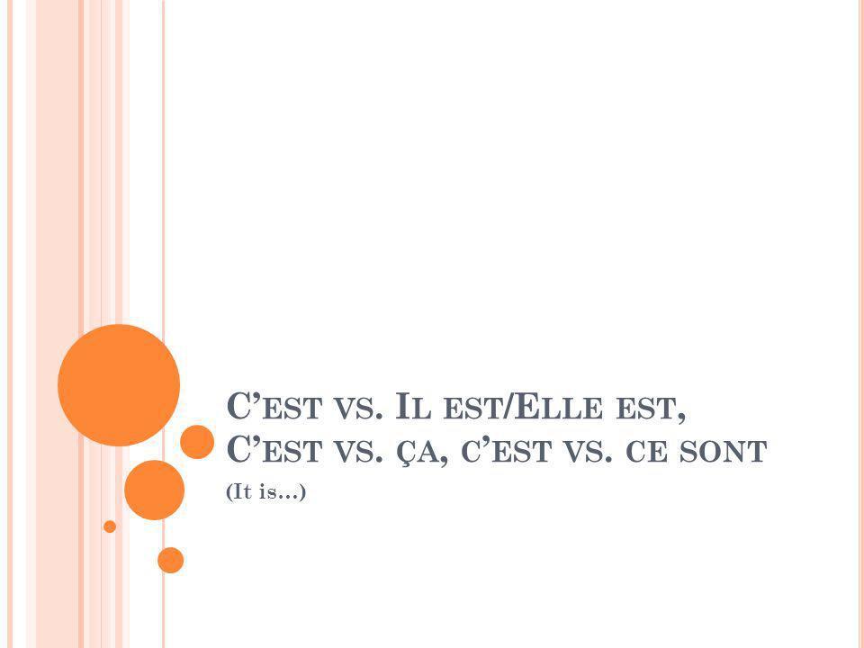 C EST VS. I L EST /E LLE EST, C EST VS. ÇA, C EST VS. CE SONT (It is…)