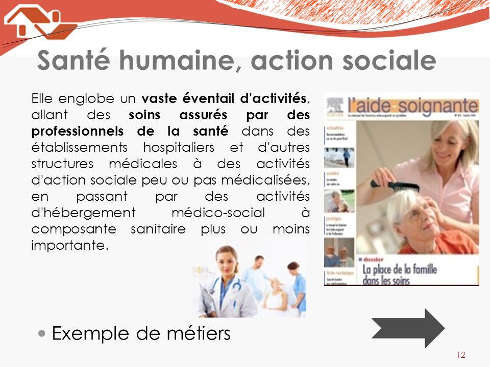 Santé humaine, action sociale Elle englobe un vaste éventail d'activités, allant des soins assurés par des professionnels de la santé dans des établis