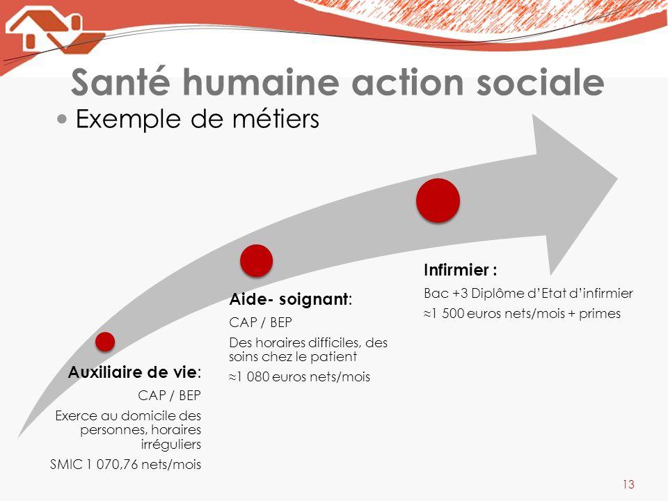 Santé humaine action sociale Exemple de métiers 13 Auxiliaire de vie : CAP / BEP Exerce au domicile des personnes, horaires irréguliers SMIC 1 070,76