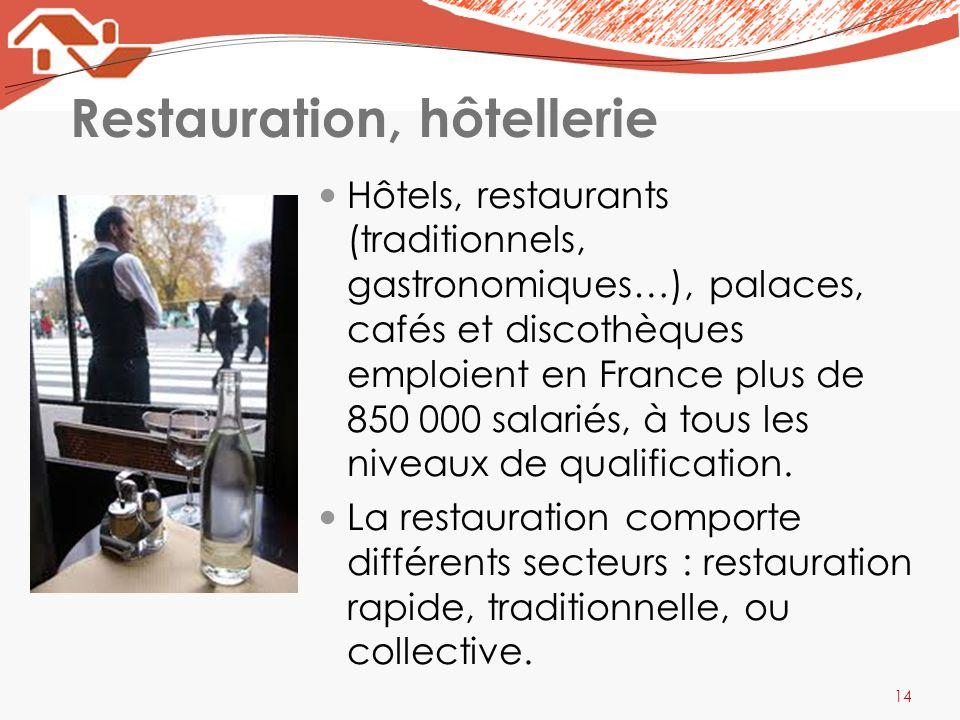 Restauration, hôtellerie Hôtels, restaurants (traditionnels, gastronomiques…), palaces, cafés et discothèques emploient en France plus de 850 000 sala