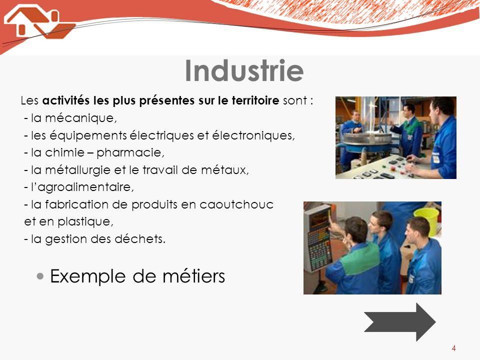 Industrie 4 Les activités les plus présentes sur le territoire sont : - la mécanique, - les équipements électriques et électroniques, - la chimie – ph