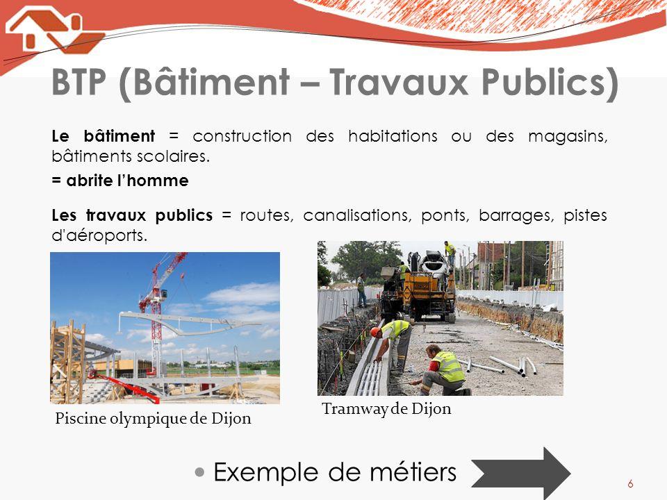 BTP (Bâtiment – Travaux Publics) Le bâtiment = construction des habitations ou des magasins, bâtiments scolaires. = abrite lhomme Les travaux publics