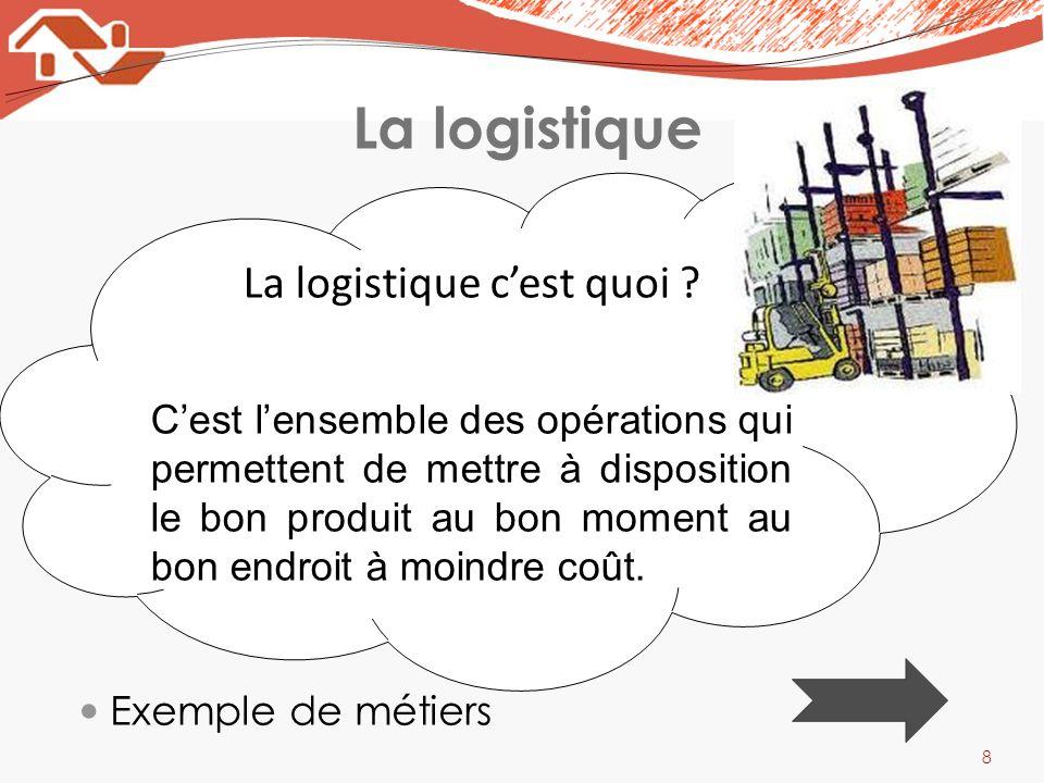 La logistique 8 La logistique cest quoi ? Cest lensemble des opérations qui permettent de mettre à disposition le bon produit au bon moment au bon end
