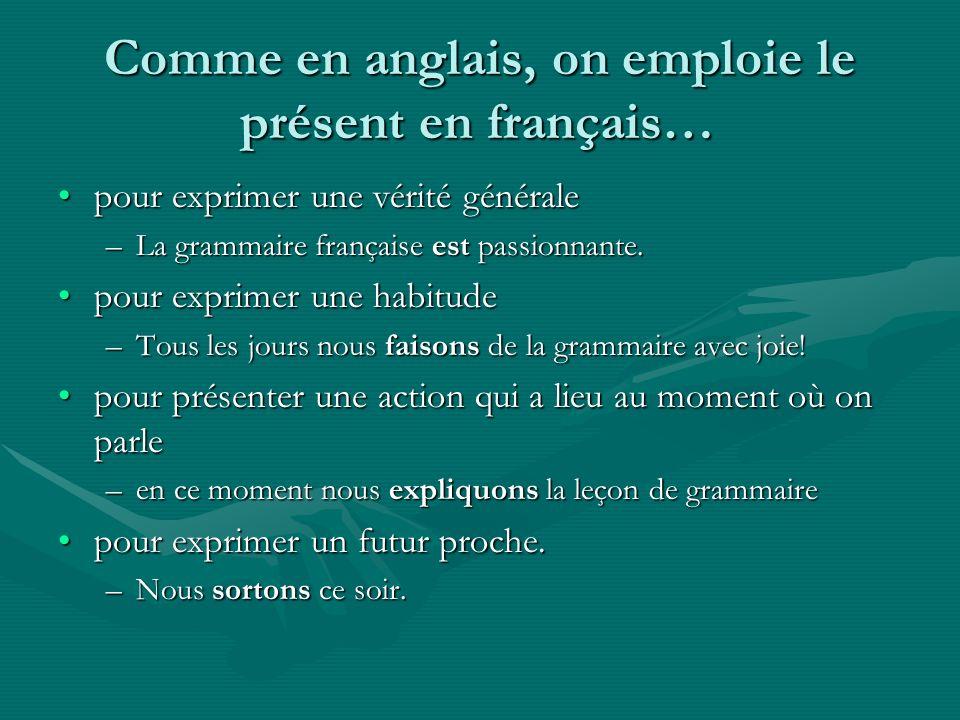 Comme en anglais, on emploie le présent en français… pour exprimer une vérité généralepour exprimer une vérité générale –La grammaire française est pa