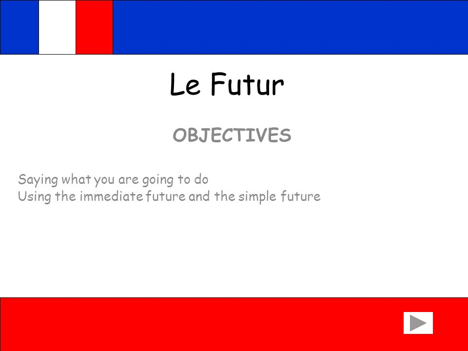 Le Futur OBJECTIVES Saying what you are going to do Using the immediate future and the simple future