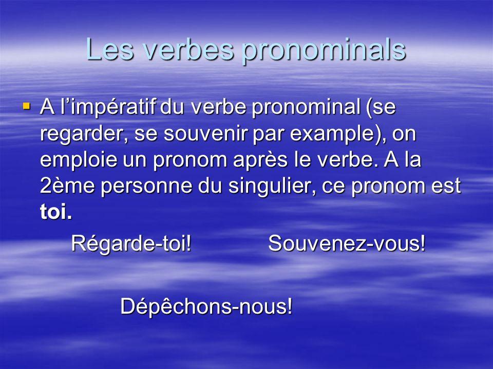 Les verbes pronominals A limpératif du verbe pronominal (se regarder, se souvenir par example), on emploie un pronom après le verbe.