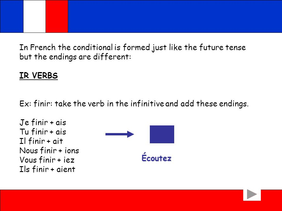 In French the conditional is formed just like the future tense but the endings are different: IR VERBS Ex: finir: take the verb in the infinitive and add these endings.