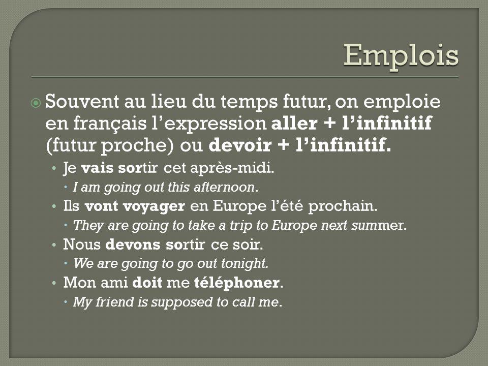 Souvent au lieu du temps futur, on emploie en français lexpression aller + linfinitif (futur proche) ou devoir + linfinitif. Je vais sortir cet après-