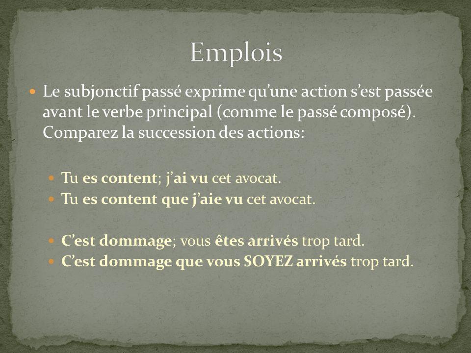 Le subjonctif passé exprime quune action sest passée avant le verbe principal (comme le passé composé). Comparez la succession des actions: Tu es cont