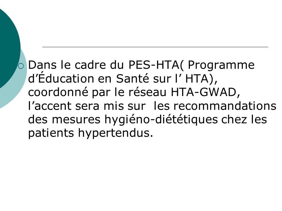 Dans le cadre du PES-HTA( Programme dÉducation en Santé sur l HTA), coordonné par le réseau HTA-GWAD, laccent sera mis sur les recommandations des mesures hygiéno-diététiques chez les patients hypertendus.