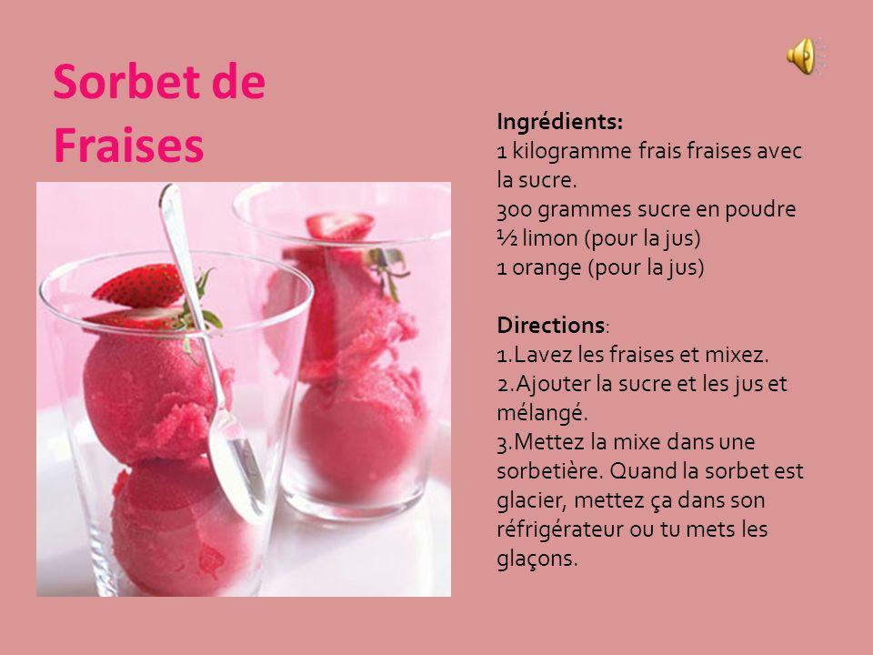 Le Granite Ingrédients: Un demi-litre de jus (dorange, de mangue, etc.) 150 gramme de sucre Directions: Mélangez le jus et la sucre. Versez le jus et