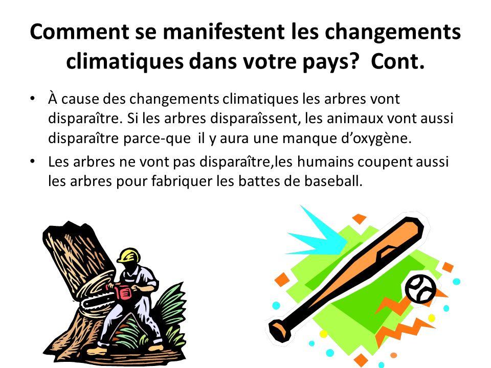 Comment se manifestent les changements climatiques dans votre pays.