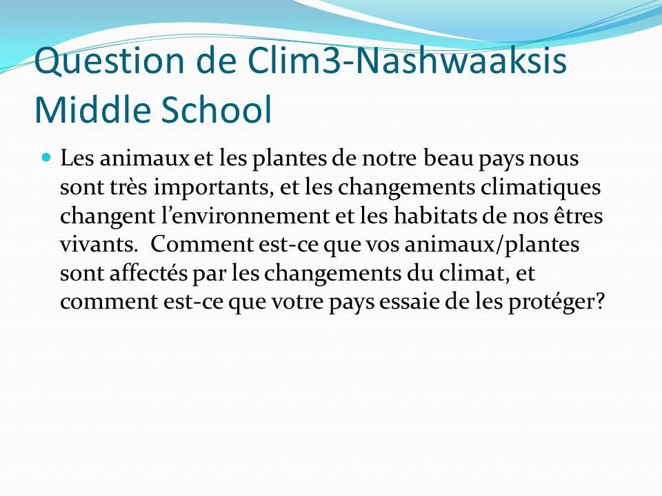 Question de Clim3-Nashwaaksis Middle School Les animaux et les plantes de notre beau pays nous sont très importants, et les changements climatiques changent lenvironnement et les habitats de nos êtres vivants.