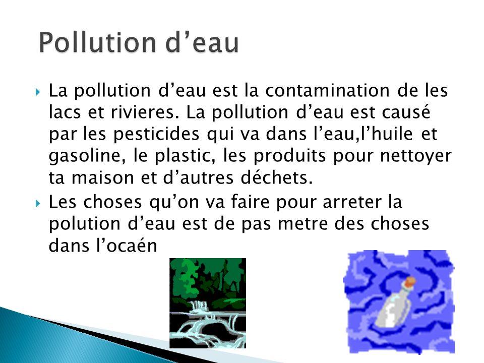 La pollution deau est la contamination de les lacs et rivieres. La pollution deau est causé par les pesticides qui va dans leau,lhuile et gasoline, le