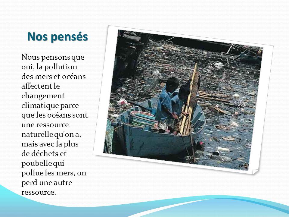 Nos pensés Nous pensons que oui, la pollution des mers et océans affectent le changement climatique parce que les océans sont une ressource naturelle