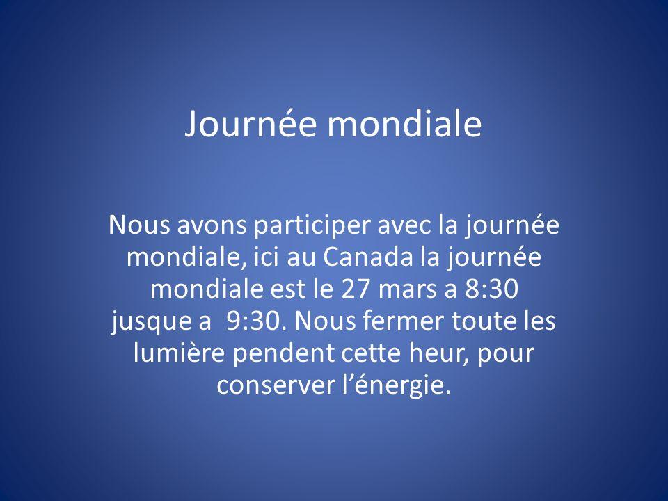 Journée mondiale Nous avons participer avec la journée mondiale, ici au Canada la journée mondiale est le 27 mars a 8:30 jusque a 9:30.