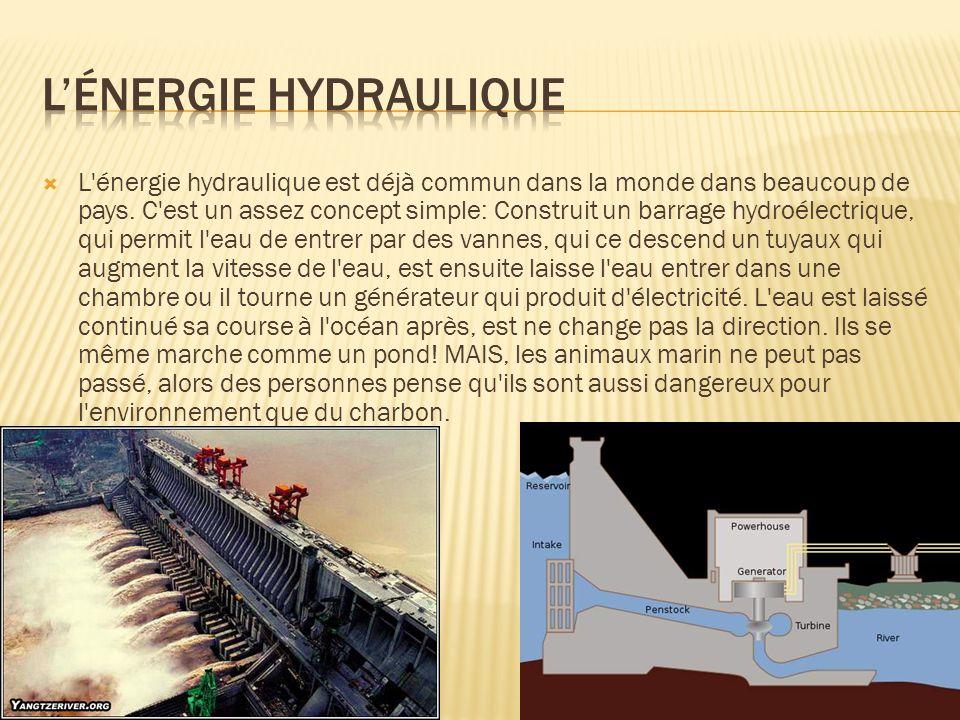 L'énergie hydraulique est déjà commun dans la monde dans beaucoup de pays. C'est un assez concept simple: Construit un barrage hydroélectrique, qui pe