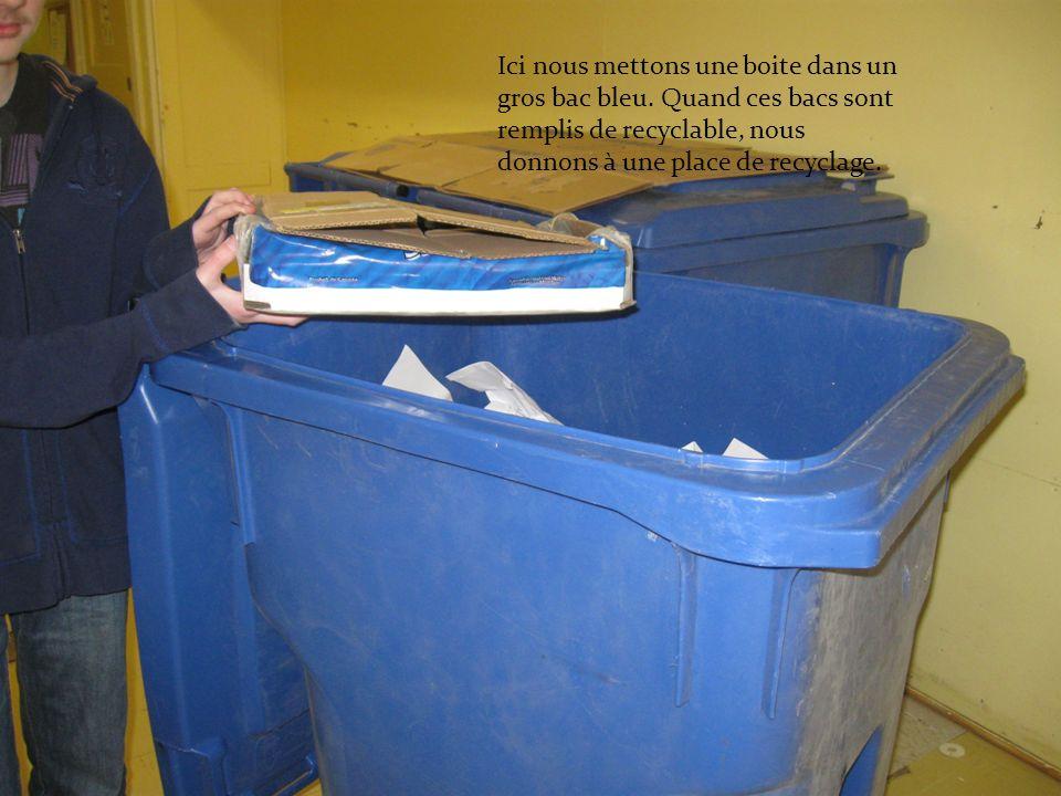 Ici nous mettons une boite dans un gros bac bleu. Quand ces bacs sont remplis de recyclable, nous donnons à une place de recyclage.