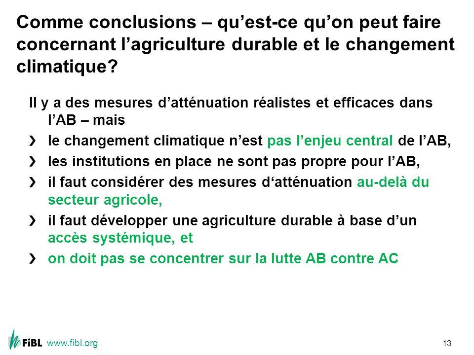 www.fibl.org Comme conclusions – quest-ce quon peut faire concernant lagriculture durable et le changement climatique.