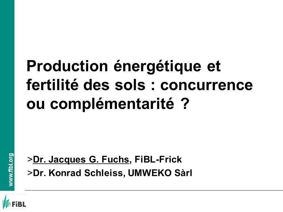 www.fibl.org Production énergétique et fertilité des sols, Yverdon, 24.10.2012, jf > Production de biogaz > Ne peut être financée par la vente de lénergie au prix du marché > Décisions politiques influençant le prix pour lénergie produite à partir de la biomasse change la loi du marché > Valeur financière des fertilisants de la biomasse (10-15.- /m 3 ) pas (ou peu) reconnue par la pratique > Pas de valeur financière pour les autres effets positifs de la biomasse pris en compte > Prix obtenu pour lénergie produite nettement plus élevé que sa valeur effective (soutien politique) > Peut conduire à des aberrations dans la pratique Aspects financiers: Energie versus fertilité des sols