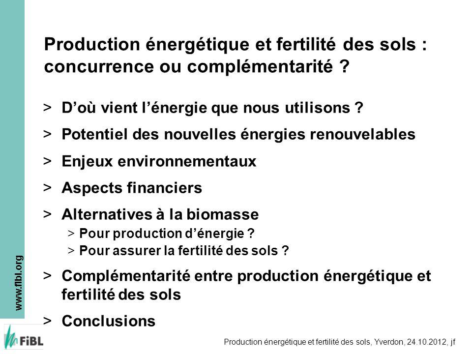 www.fibl.org Production énergétique et fertilité des sols, Yverdon, 24.10.2012, jf > Exemple Allemagne (1) > Décision politique: productions dénergies alternatives favorisées à tout prix > Production de cultures énergétiques (maïs, blé, …) > Production de biogaz à grande échelle > «Restes» calorifiques des co-générateurs utilisés pour sécher les digestats et produire des pellet de chauffage > Aucun retour organique au sol .