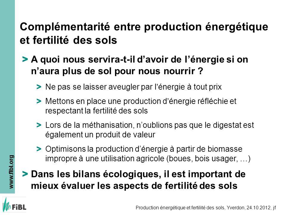 www.fibl.org Production énergétique et fertilité des sols, Yverdon, 24.10.2012, jf > A quoi nous servira-t-il davoir de lénergie si on naura plus de s