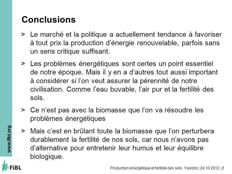 www.fibl.org Production énergétique et fertilité des sols, Yverdon, 24.10.2012, jf Conclusions >Le marché et la politique a actuellement tendance à fa