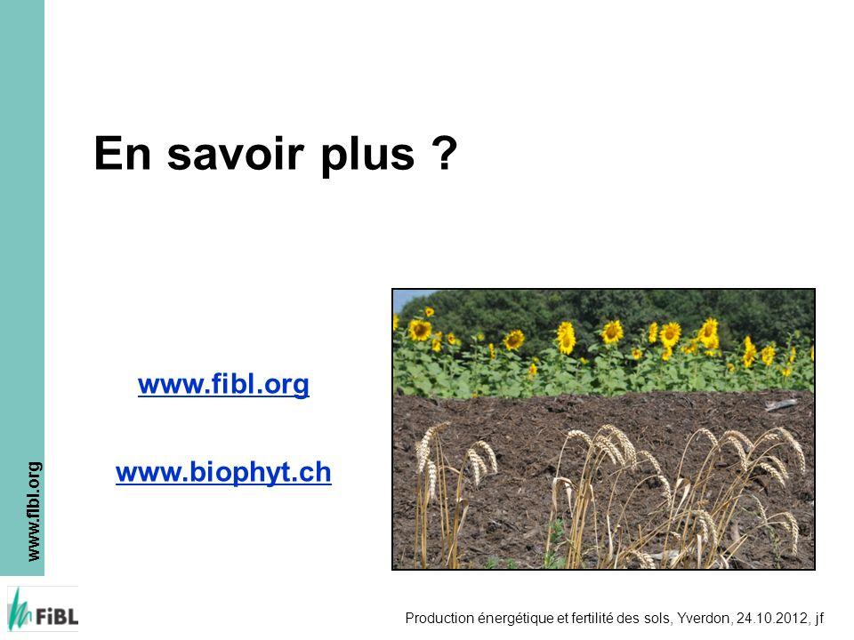 www.fibl.org Production énergétique et fertilité des sols, Yverdon, 24.10.2012, jf En savoir plus ? www.fibl.org www.biophyt.ch