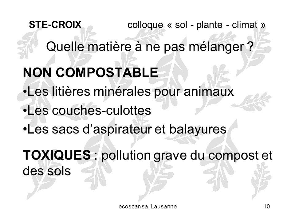 ecoscan sa, Lausanne10 STE-CROIX colloque « sol - plante - climat » Quelle matière à ne pas mélanger ? NON COMPOSTABLE Les litières minérales pour ani