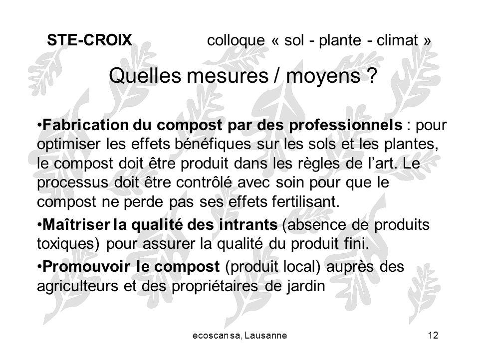 ecoscan sa, Lausanne12 STE-CROIX colloque « sol - plante - climat » Quelles mesures / moyens ? Fabrication du compost par des professionnels : pour op