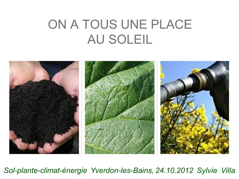 ON A TOUS UNE PLACE AU SOLEIL Sol-plante-climat-énergie Yverdon-les-Bains, 24.10.2012 Sylvie Villa