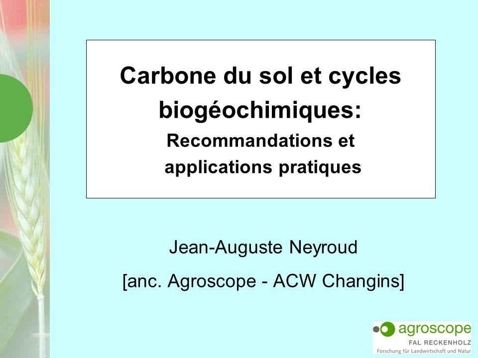 Carbone du sol et cycles biogéochimiques: Recommandations et applications pratiques Jean-Auguste Neyroud [anc. Agroscope - ACW Changins]