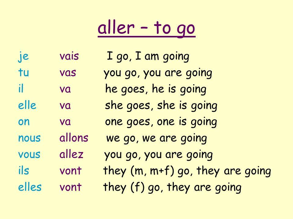 aller – to go je tu il elle on nous vous ils elles vais I go, I am going vas you go, you are going va he goes, he is going va she goes, she is going v