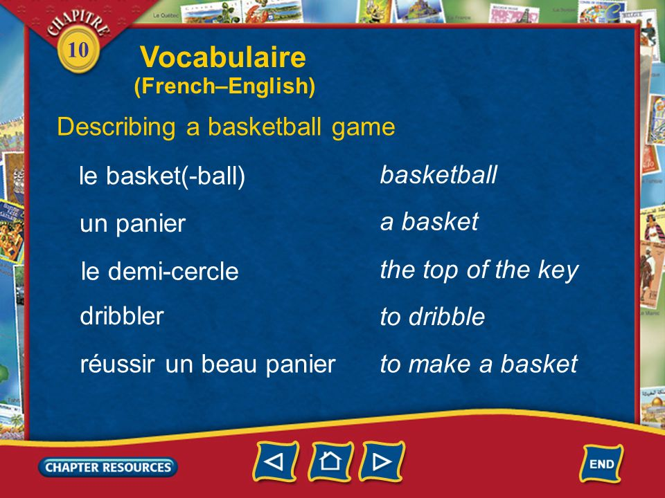 10 Describing a soccer game un coup de pied de tête un but a kick, hit a kick a header a goal bloquer to block arrêter to stop Vocabulaire (French–English)