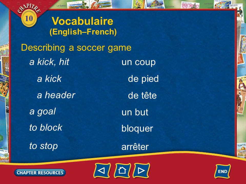 10 Describing a soccer game le foot(ball) un ballon marquer un but un gardien de but soccer a ball to score a goal a goalie Vocabulaire (English–French)