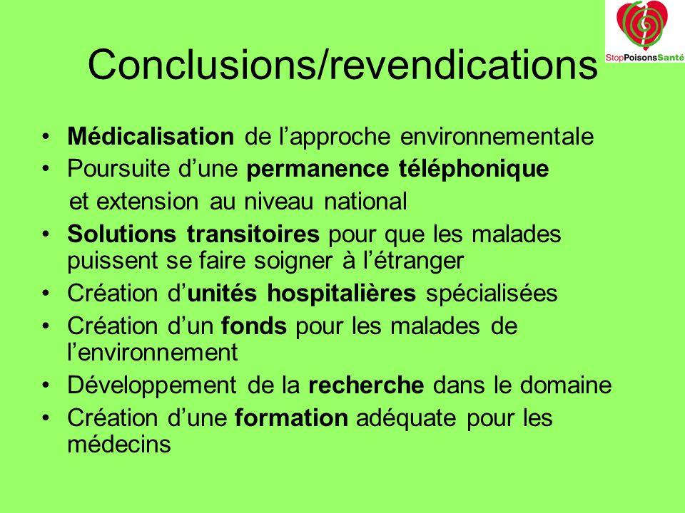 Conclusions/revendications Médicalisation de lapproche environnementale Poursuite dune permanence téléphonique et extension au niveau national Solutio